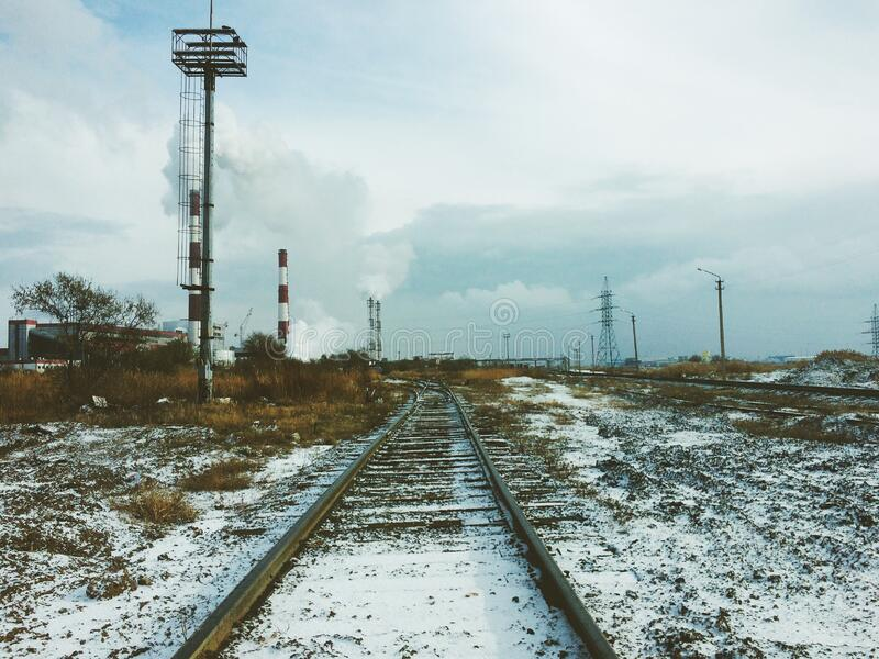 Railway in winter stock photography
