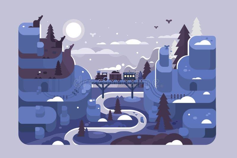 Railway at winter night landscape stock illustration
