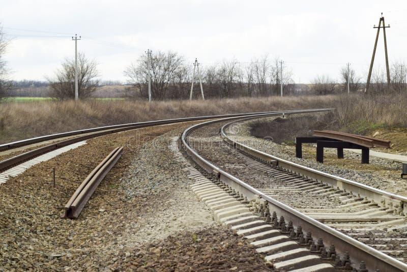 railways Железная дорога для поездов Стальные рельсы стоковое фото rf