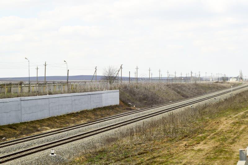 railways Железная дорога для поездов Стальные рельсы стоковое фото