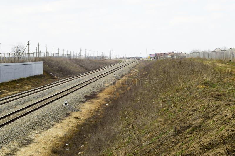 railways Железная дорога для поездов Стальные рельсы стоковые фото