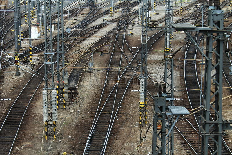 Railways. Numerous railways, picture taken at Prague central train station royalty free stock photo