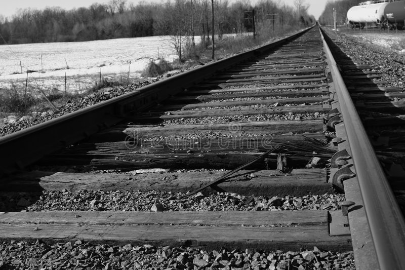 Railways. White and black royalty free stock photography