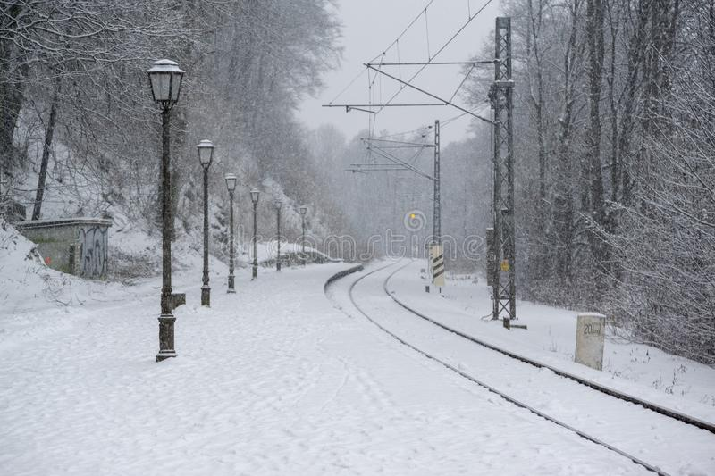 Railways covered by snow in winter. Slovakia royalty free stock photography