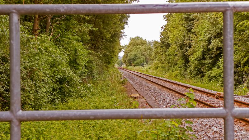 Railways in a forest. In Germany stock photography