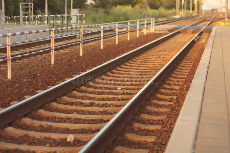 Railways. Parallel railways for speed traffic stock photos