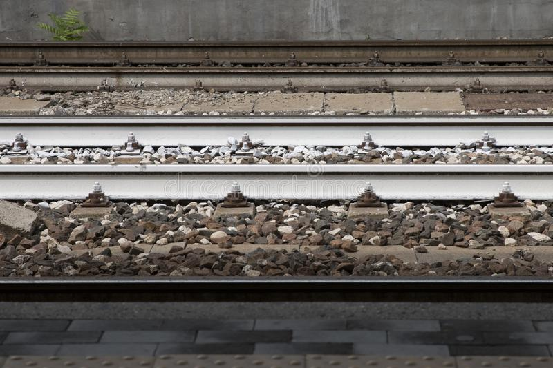 Railways. In a train station royalty free stock images