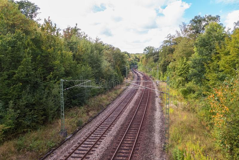 Railways for trains. Are leading through a forest stock photos