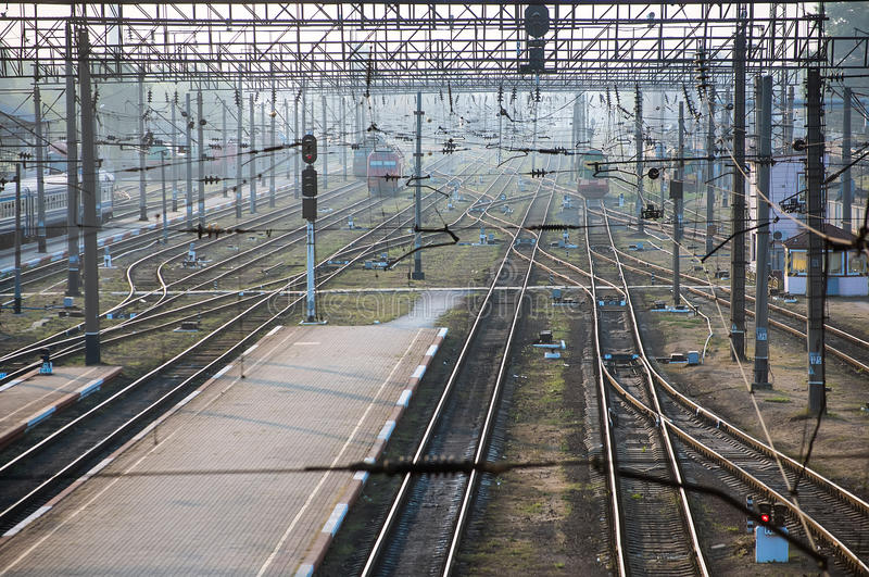 Railways with trains. Railways stations with trains and locomotives royalty free stock photography