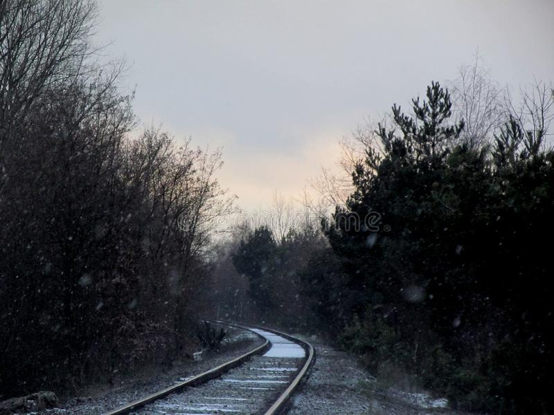 Railways in the winter stock photography
