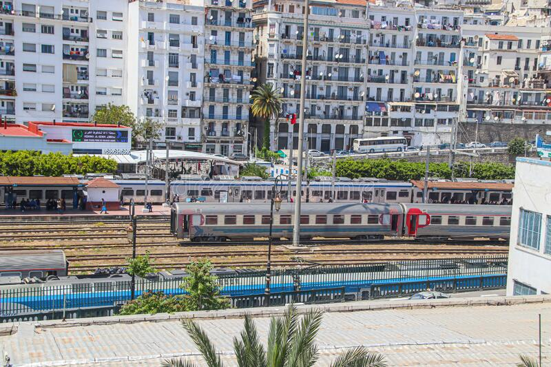 Alger, Algeria, Capital, City, Railway, Trainstation, Northafrika, travel, passengertraffic, birdview, street,. The Railwaystation of Alger, the Capital from stock images