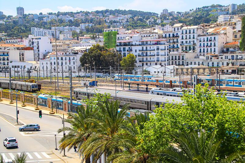 Alger, Algeria, Capital, City, Railway, Trainstation, Northafrika, travel, passengertraffic, birdview, street,. The Railwaystation of Alger, the Capital from stock photos