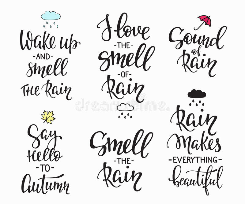Download Rain Autumn Days Quotes Typography Set Stock Illustration    Illustration Of Fall, Concept:
