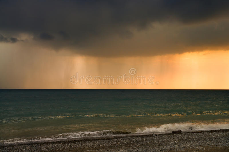 Rain band over the sea royalty free stock images