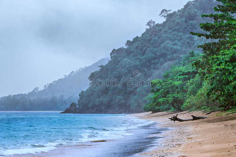 Rain on the Beach. Andaman sea beach under rain, Samui, Thailand stock images