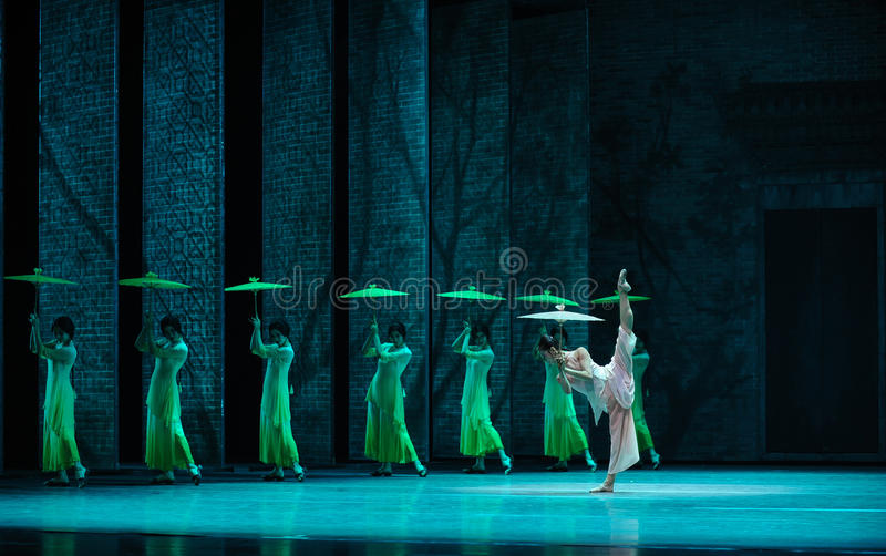 The rain beat on the banana leaf-The second act of dance drama-Shawan events of the past. Guangdong Shawan Town is the hometown of ballet music, the past focuses stock image