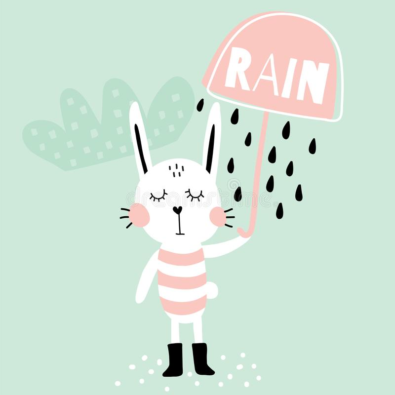 Rain bunny. Vector illustration of an adorable bunny, holding umbrella, blue background stock illustration