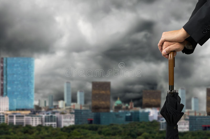 Rain in the city stock photos