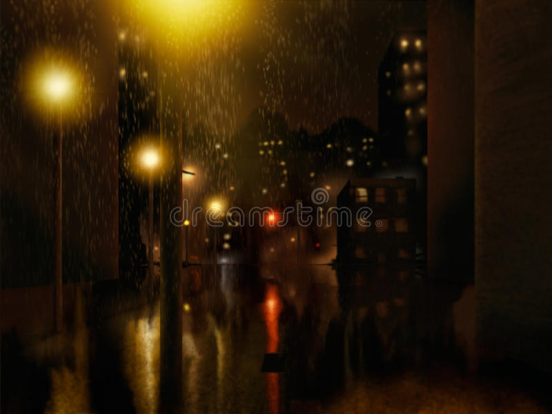 Download Rain City Night Painting stock illustration. Image of graphic - 20025224