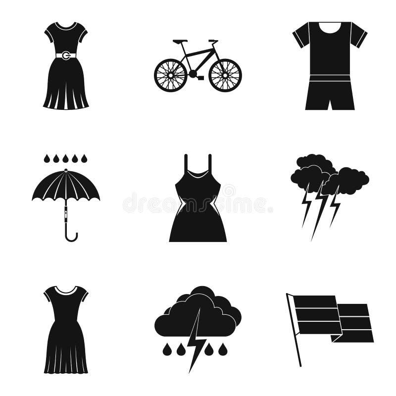 Rain clothes icon set, simple style royalty free illustration