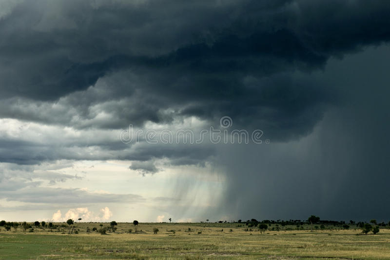Rain cloud over Africa landscape