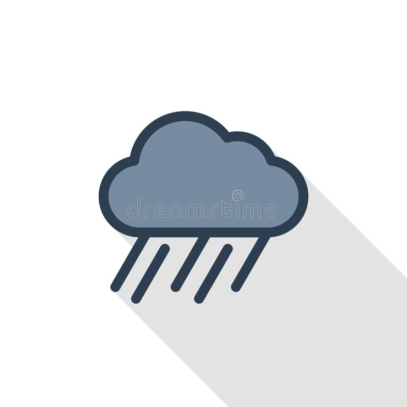 Rain cloud, storm weather thin line flat color icon. Linear vector symbol. Colorful long shadow design. stock illustration