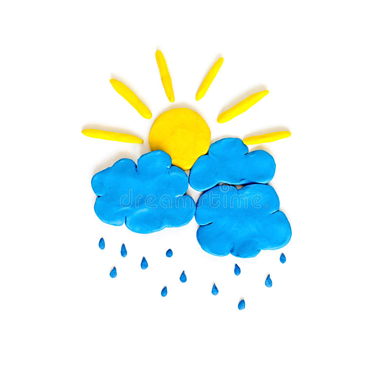 Rain cloud and sun made from plasticine stock image