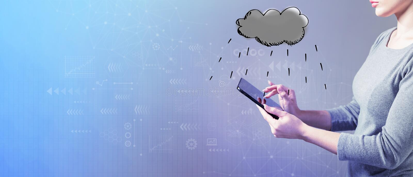 Rain cloud with woman using a tablet. Rain cloud with business woman using a tablet computer stock photography