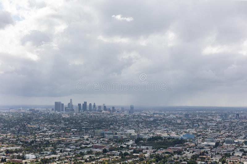 Rain clouds over downtown Los Angeles. California stock photo
