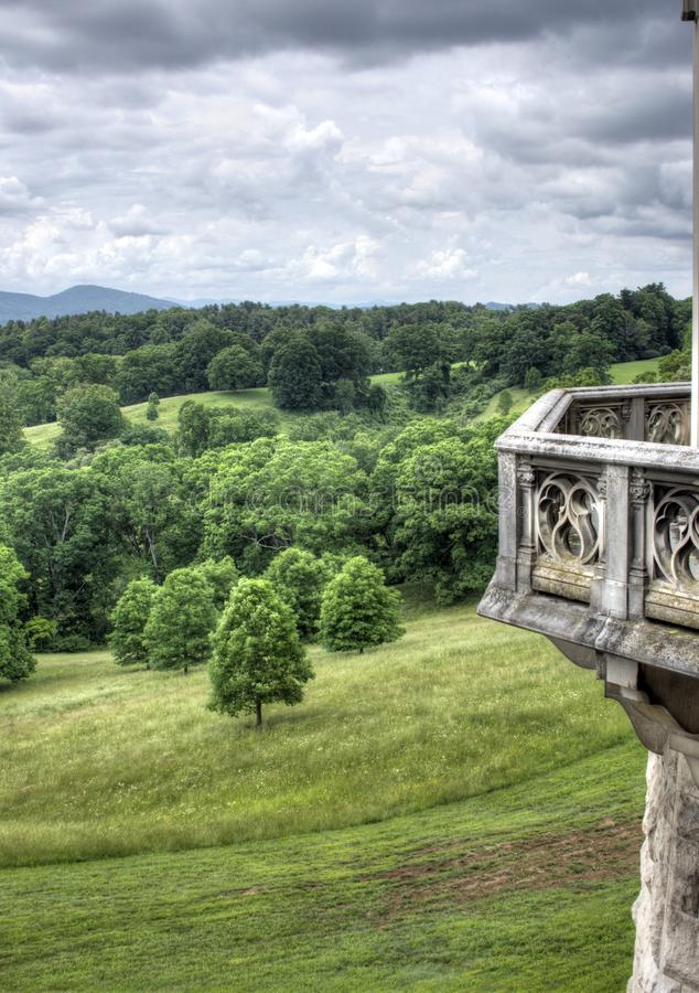 Rain Clouds over Pisgah Mountains, Biltmore Estate. Grey clouds over Pisgah National Forest mountains photographed from the back patio of the Biltmore Estate royalty free stock photos