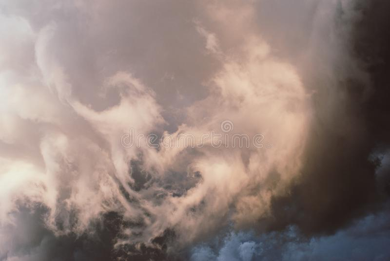 Rain clouds before the storm. Thunderclouds before the storm. Rain clouds. Background symbolizing the power of the elements stock images