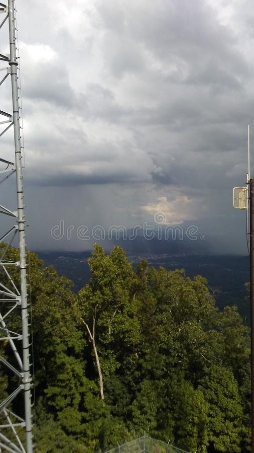 Rain clouds. Storms mountains lookout royalty free stock photo
