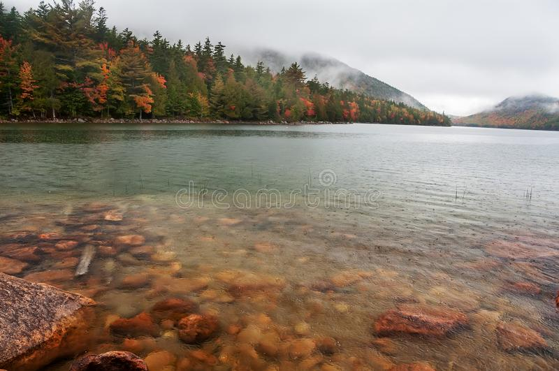 The rain comes on the lake among the hilly mountains with autumn trees. Acadia National Park in autumn. USA. Maine stock image