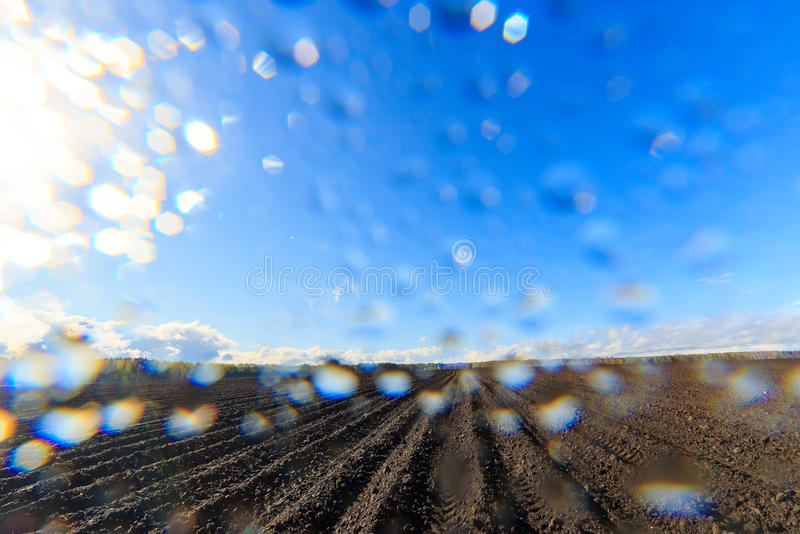 After the rain comes the sun. Drops on the lens.  royalty free stock image