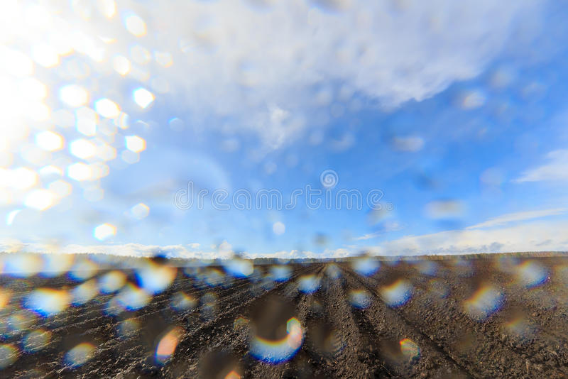 After the rain comes the sun. Drops on the lens.  royalty free stock photos