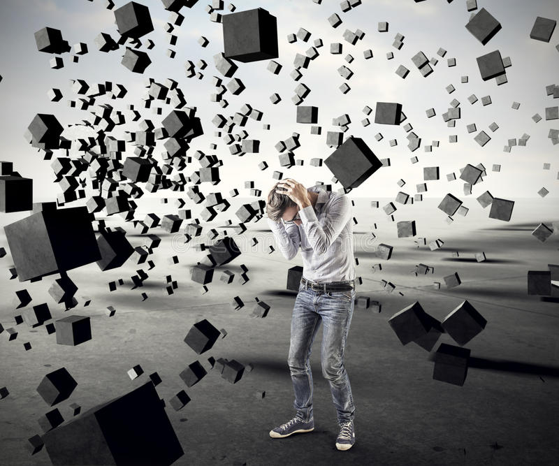 Rain of cubes. Man protecting himself from a lkuvia of cubes stock illustration
