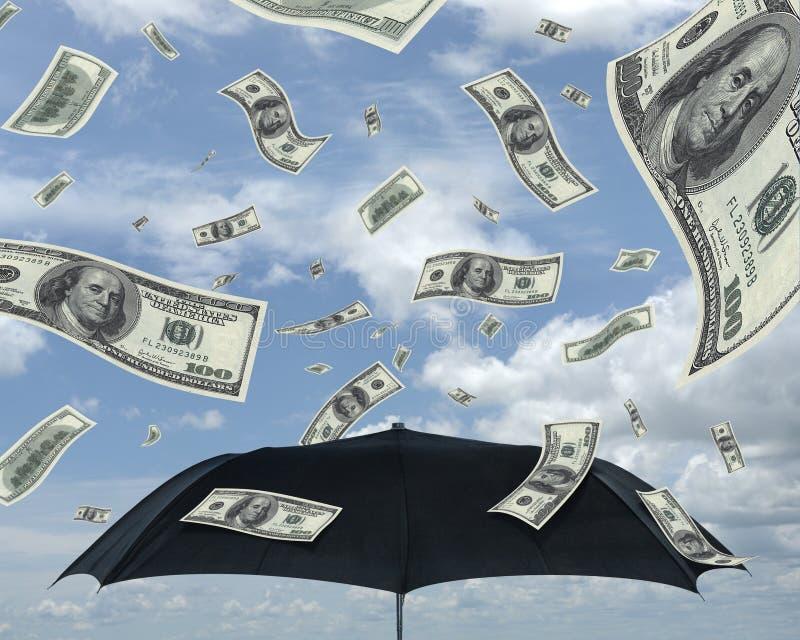 Rain of dollars. Wealth idea in a metaphor of rain of dollars. Bill of 100 dollars only stock images