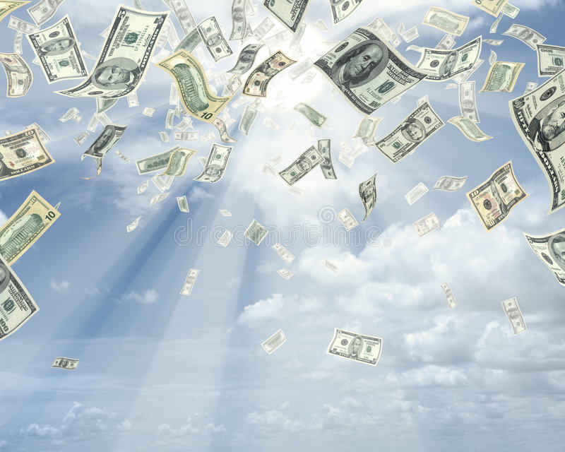 Download Rain of dollars stock photo. Image of prosperous, cloud - 1963546