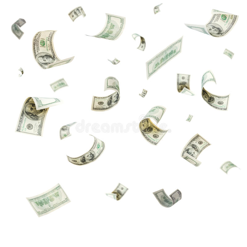 Rain from dollars. Rain from falling dollars isolated on white background royalty free stock image
