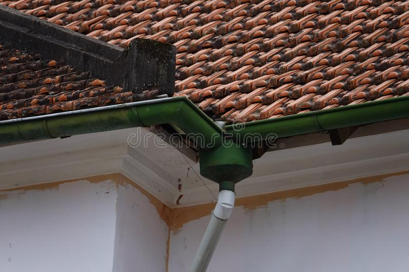 Rain downspout in an antique construction stock images