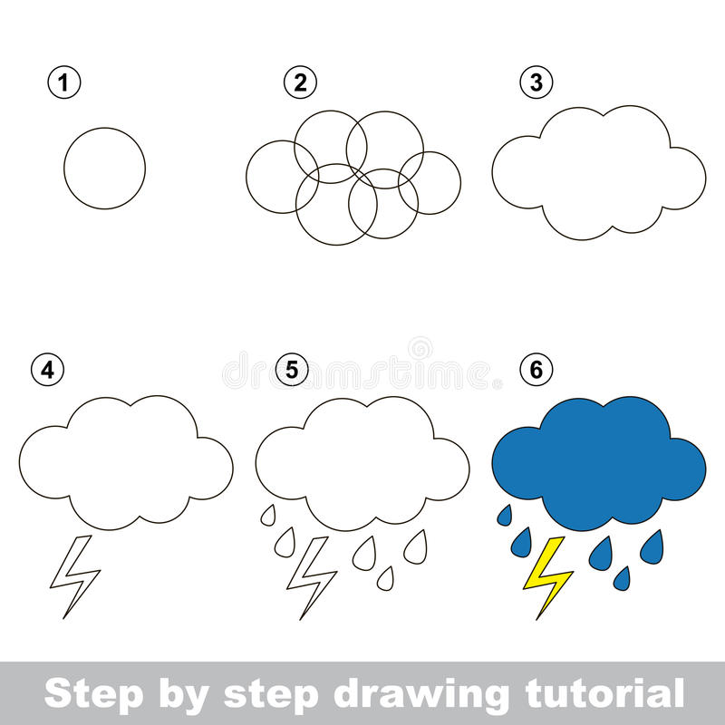 Rain. Drawing tutorial. stock vector. Illustration of logic - 67683633