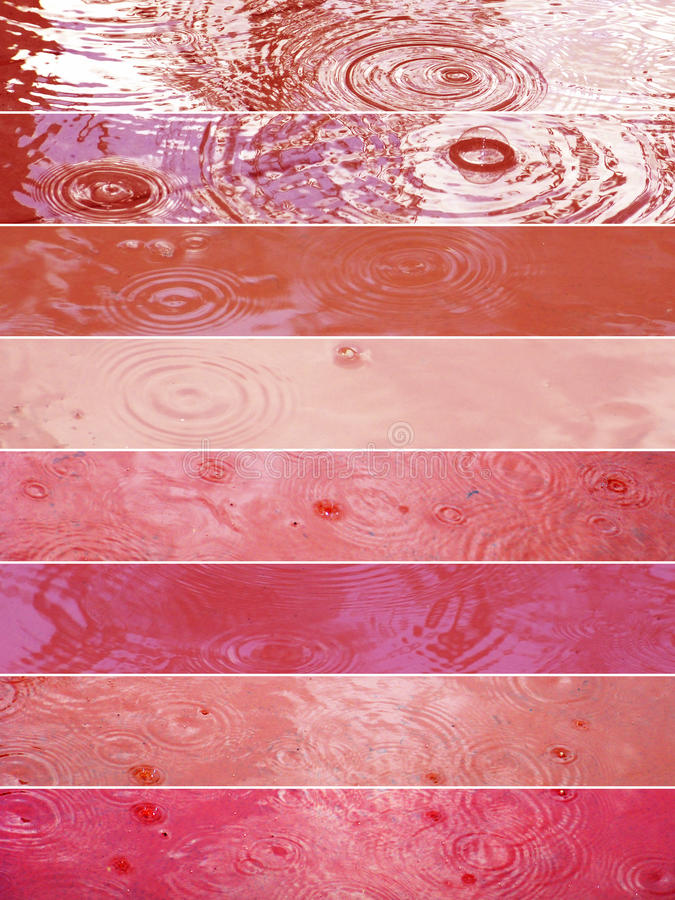 Rain drop banners in red and pink tones stock image