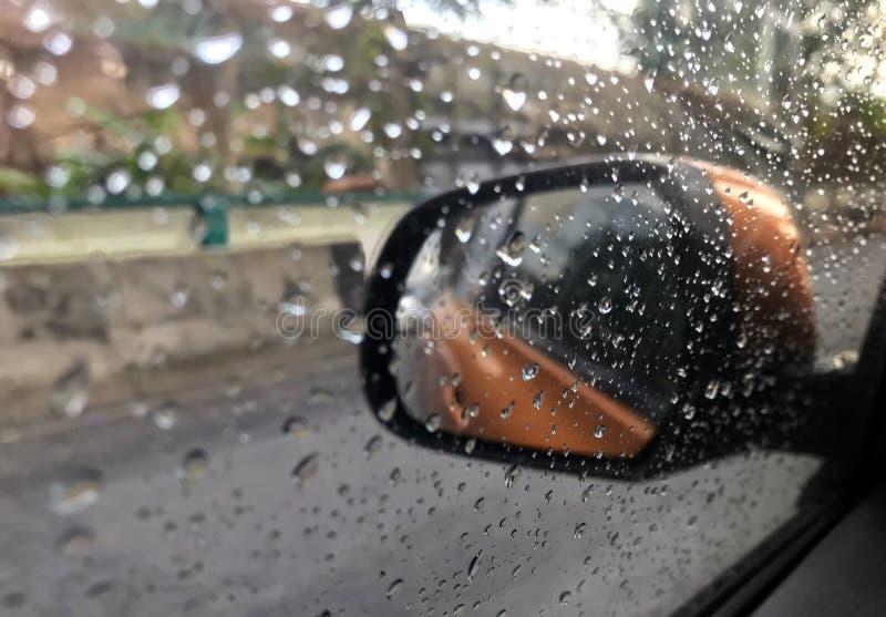 Rain drop on the glass. stock photography