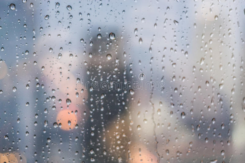Rain Drops On Clear Glass. In Rain Weather royalty free stock image