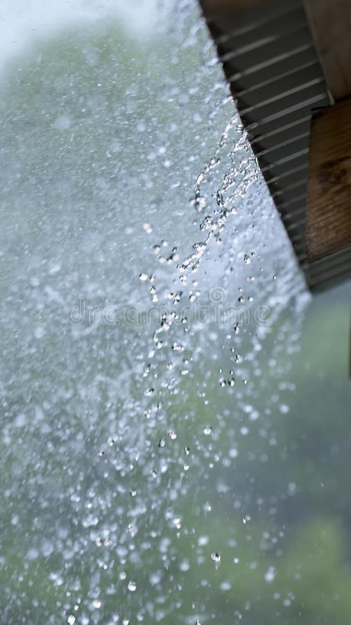 Rain drops fall continuously with blur green nature background.  royalty free stock photos