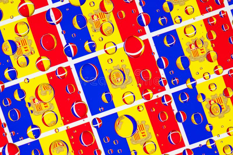 Rain drops full of Andorra flags. Flags of Andorra, behind a glass covered with rain drops.Pattern from Andorra flags. 3D illustration stock illustration