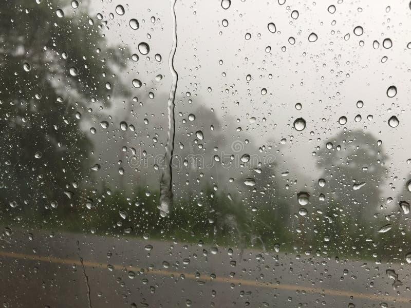 Rain drops on the glass stock image