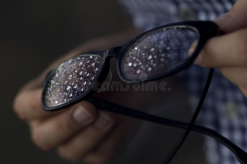 Rain drops on the glasses 4. royalty free stock photography