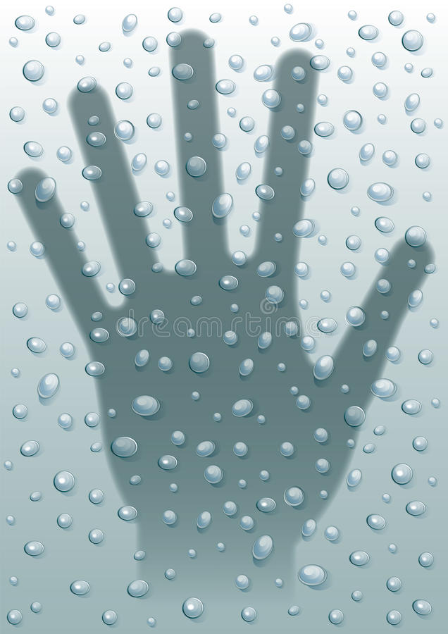 Rain drops hand stock image