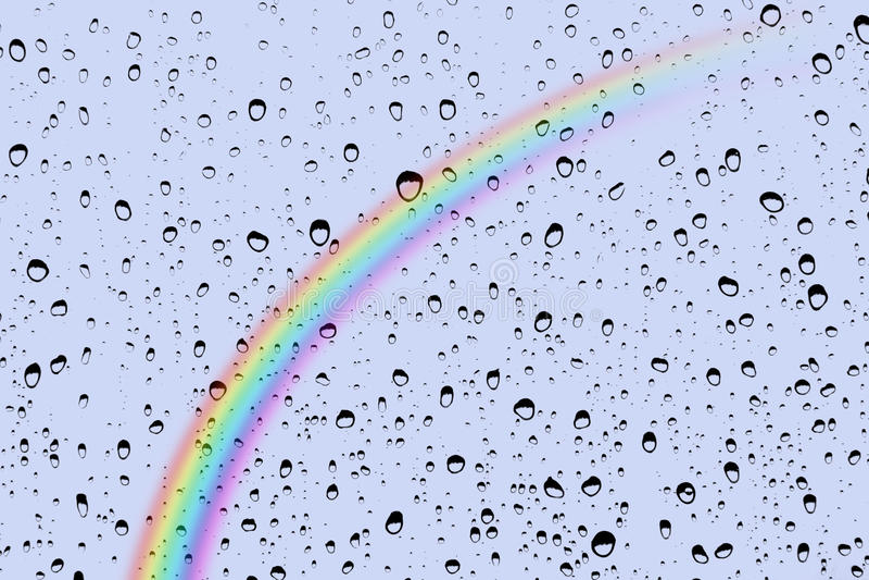 Rain drops and rainbow royalty free stock image